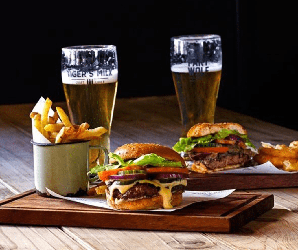Tiger's Milk Burger and beer special