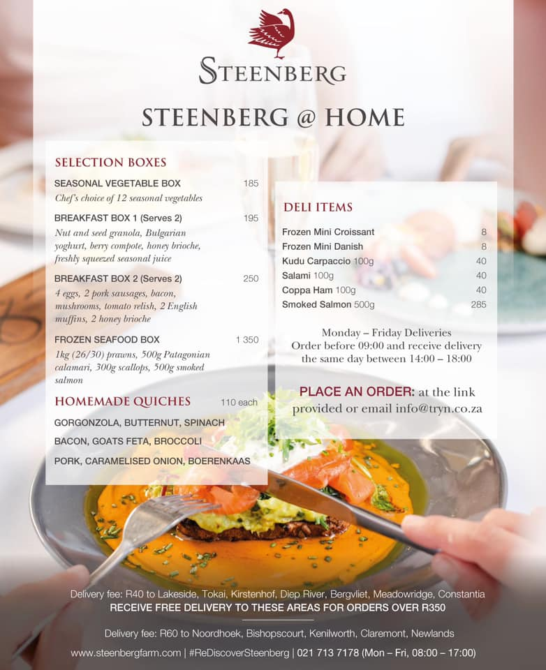 Best Cape Town Restaurants Doing Food Delivery In Level 3 Lockdown - Steenberg