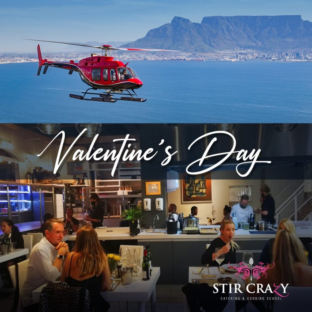 Things to do on Valentines Day in Cape Town 2021 - Helicopter Flight & Dinner with Stir Crazy Cooking Theatre
